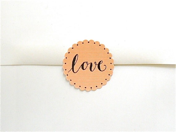 WEDDING ENVELOPE SEALS - Calligraphed Love-Related Stickers - Set of 8