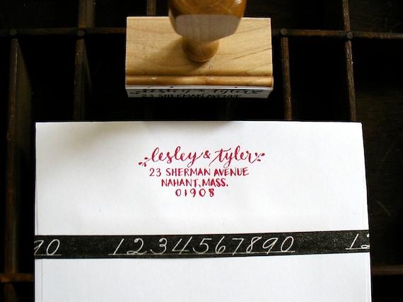 CALLIGRAPHY ADDRESS STAMP - Return Address in Script & Block Caps - Custom, Wedding Envelopes - Wooden Handle