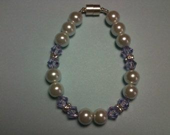 Swarovski Lilac Crystal and Pearl Bracelet