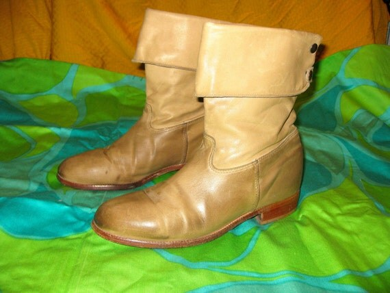 Vintage Taupe Distressed Leather Boots