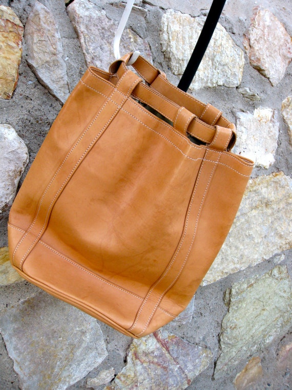 Jon Hart Hand Crafted Camel Leather Backpack Purse