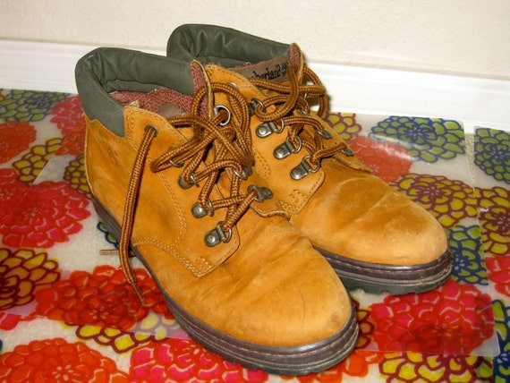 Camel Brown Leather Timberland Lace Up Hiking Boots