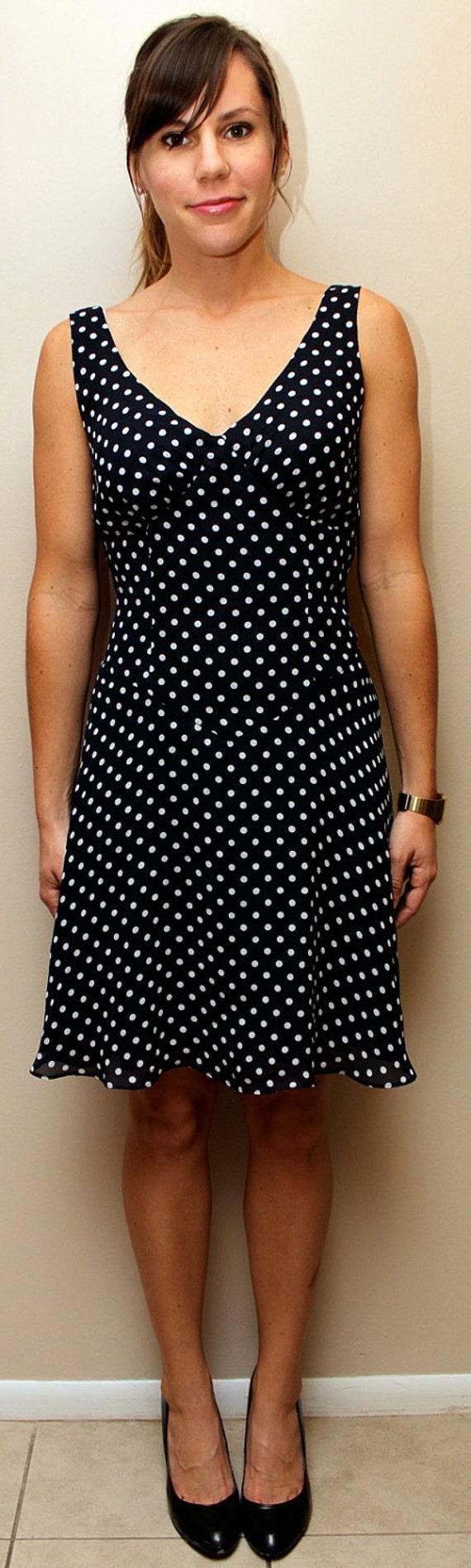 Vintage 60s Inspired Navy Blue Polka Dot Dress Size 2-4 SALE