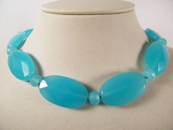 Gorgeous Ralph Lauren Turquoise Blue Quartz faceted necklace