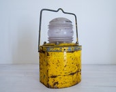 reserved for jill - vintage industrial yellow railway lantern/lamp