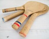 vintage wooden shuttlecock paddles, set of four