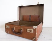 reserved for susie & andy - vintage striped brown board small suitcase with lid storage