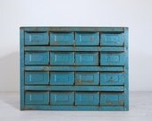 vintage industrial metallic blue metal storage cabinet with 16 drawers