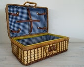 reserved for zoe - vintage wicker picnic basket with blue and white checked interior