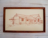 vintage framed print of yarra glen railway station, australia