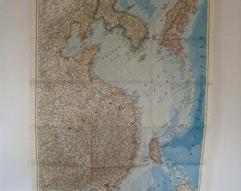 1953 china coast and korea national geographic wall map