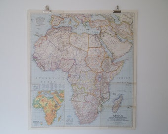 1950 africa and the arabian peninsula national geographic magazine wall map