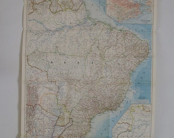 1955 vintage eastern south america national geographic wall map