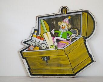 vintage children's toybox/clown timber sign