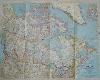 1961 vintage canada national geographic magazine wall map