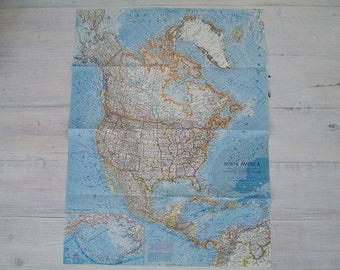 1964 vintage north america national geographic wall map