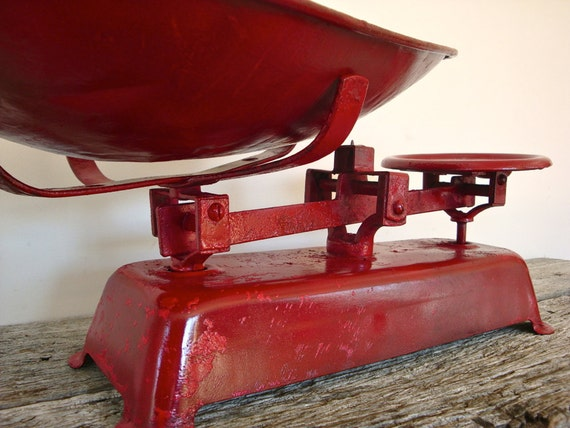 RESERVED FOR SCONNIEANDJAM vintage cherry red kitchen scales