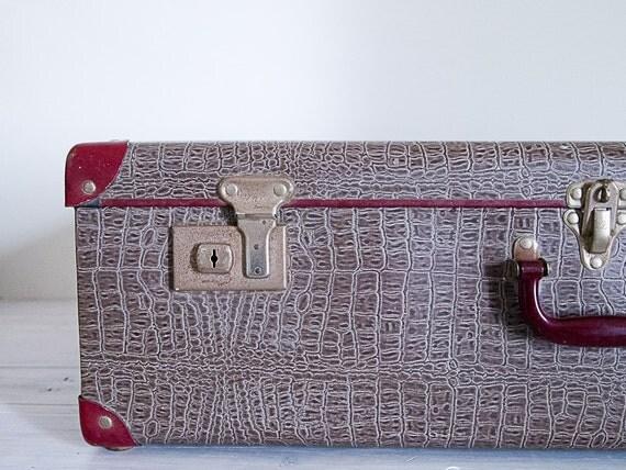 reserved for gabrielle - vintage faux snakeskin large burgundy suitcase