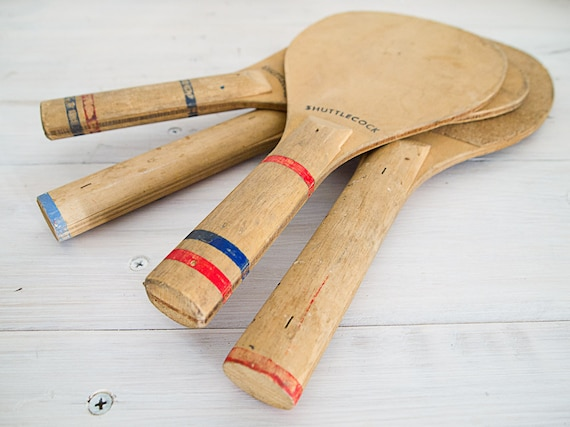vintage wooden shuttlecock paddles, set of four
