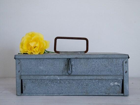 galvanised iron tool box with drawer