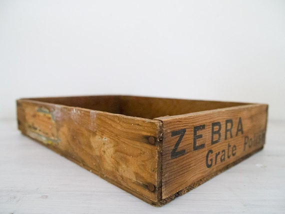 vintage industrial shallow wooden crate/box - zebra grate polish