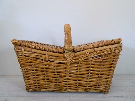 reserved for rose - vintage large wicker picnic basket