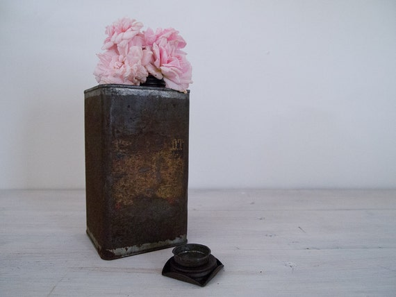 antique rusted oil can