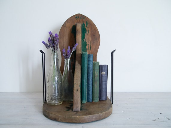 vintage chippy green book or boot stand