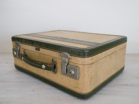 reserved for fiona - vintage small olive green and cream board suitcase