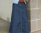 Long denim Jean Skirt Modest Maxi Custom Made 4 Gore with Pockets