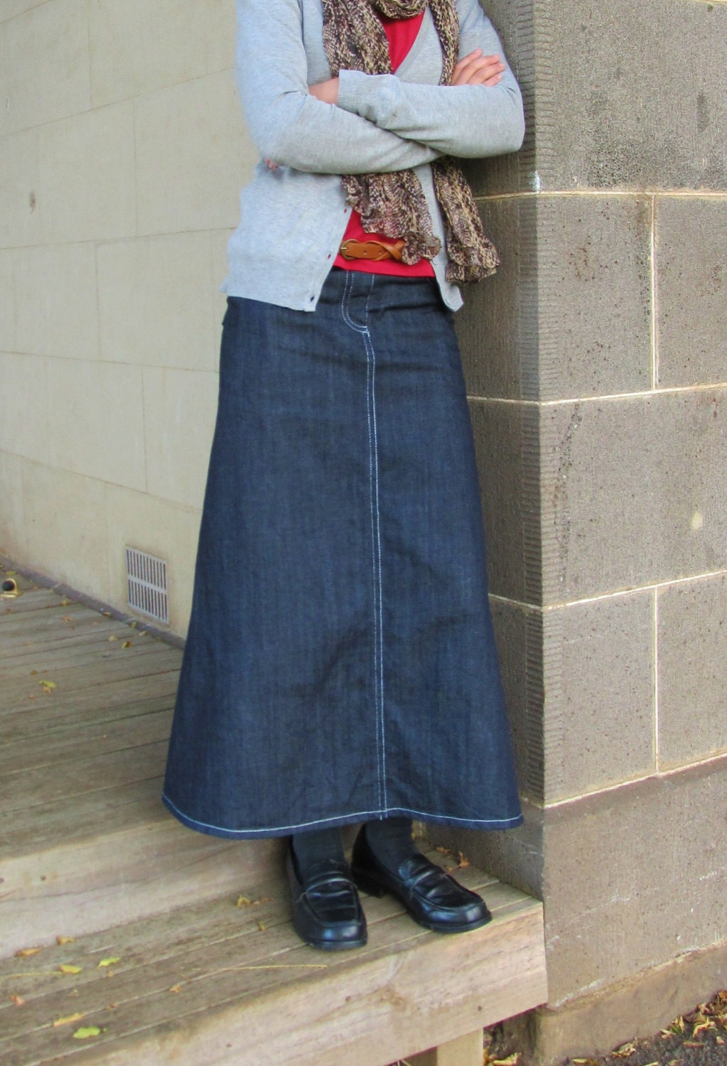 Western Skirts | Dressed Up Girl |Western Long Denim Skirts Modest