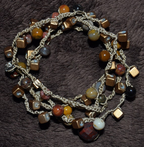 Bloodstone Crocheted Necklace or 4x Wrap Bracelet