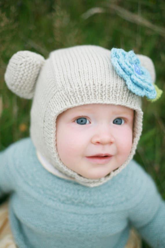 Hand Knitted Organic Merino Baby Bear Bonnet 6-9M in Custom Colour