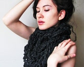 The Classic Cowl - Black Cowl Scarf Infinity Circle Scarf Crochet Chunky Bulky Crochet Soft Charcoal - CHOOSE YOUR COLOR