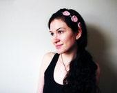 Chain of Hearts Headband - Lace Heart Chain Crochet Headband Pink Womens Adults Kids Head Band Soft