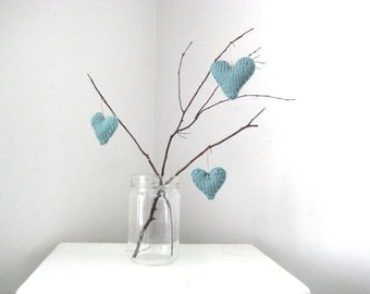 Blue Decor, Handmade Gift, Spring, Summer, Set of 3 Hearts: Hand Knit Decor Ornaments