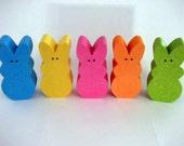 Peeps Bunnies Wood blue yellow pink orange green Easter Decor Home Decor