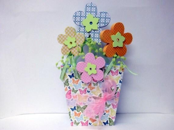 Sale! Wood Flowerpot with Four Flowers orange yellow blue pink butterflies Garden decor Home Decor