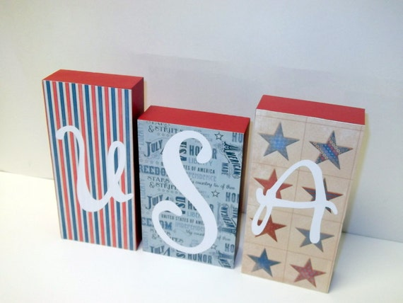 USA word blocks-patriotic decor-home decor-Fourth of July decor-red-white-blue-Memorial Day