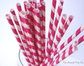 KISS ME PINK Striped--Paper Straws --25ct with Free Printable diy Flags