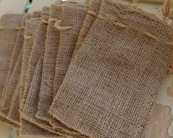 the LITTLE BURLAP BAG- --5- Favors/Gifts-Add your own decorations--set of 5