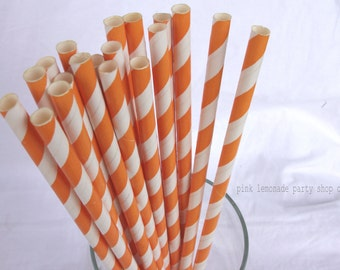 True ORaNGe  Striped-- Paper Straws --25ct with Free Printable diy Flags