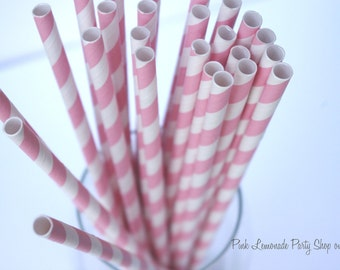 BUBBLEGUM PINK & WHITE  Striped --Paper Straws--25ct with Free Printable diy Flags