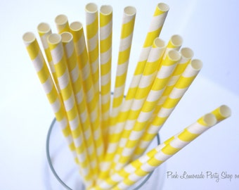 SUNSHINE YELLOW & WHITE Striped  Paper Straws--25 ct with Free Printable diy Flags