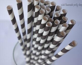 SUPER BLACK & WHITE  Stripes-- Paper Straws --25ct with Free Printable diy Flags