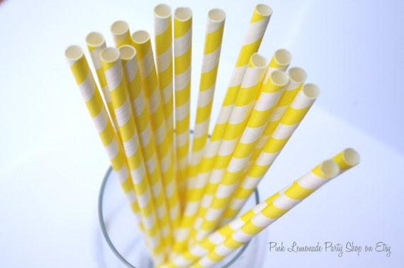 SUNSHINE YELLOW & WHITE Stripes- Paper Straws--50 ct with Free Printable diy Flags