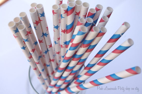 STARS & STRIPES Mix --Paper Straws--25ct--with FREE diy Printable Flags---CheaP ShippinG
