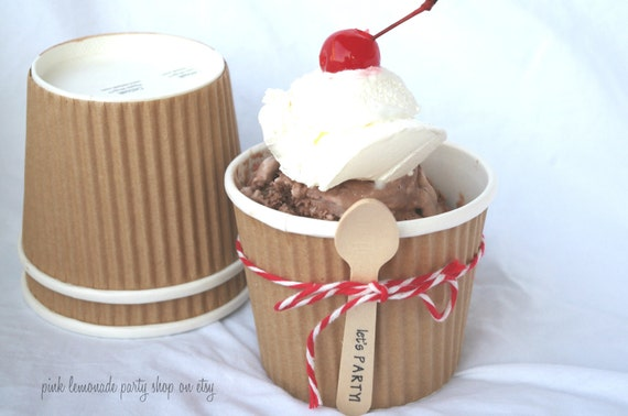 25MeDiuM KRaFT PaPeR RuFFLE CUPS WiTh free DiY LaBeLs-12oz-Party Favors--Crafts-Ice Cream-Showers-Weddings- 25ct