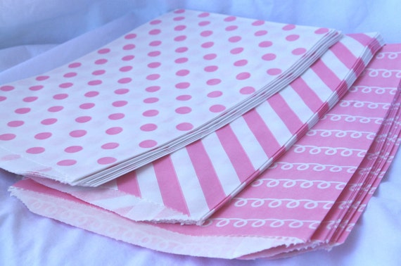 PINK and  WHiTE STRiPE, Dot and Swirl--party favors--gifts---weddings--showers--21ct