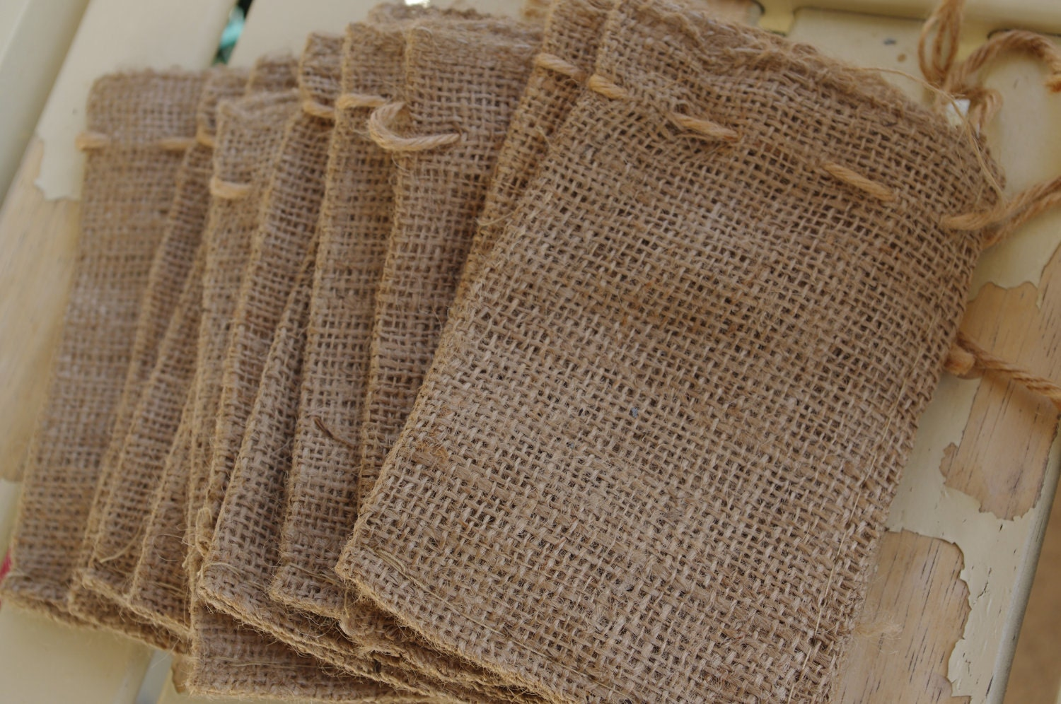 The little burlap bag favors gifts add your by Burlap bag decorating ideas